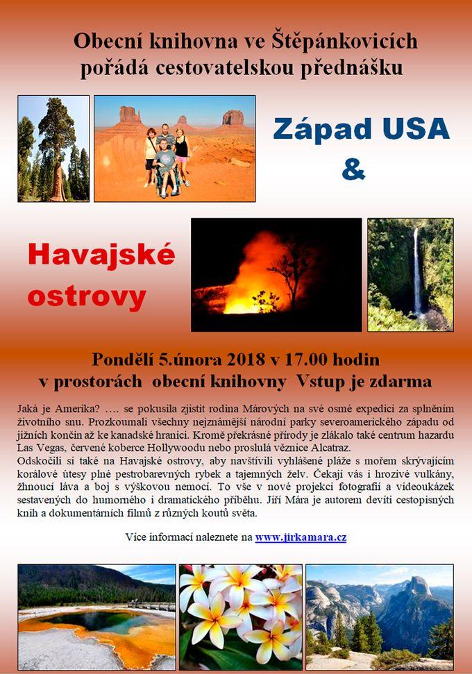 """Cestovatelská přednáška """"Západ USA a Havajské ostrovy"""""""